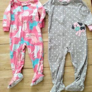 Carter's Pajamas - Baby Girl sz 18 mo / 2t pajama sleepers